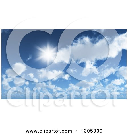 Clipart of a 3d Sun Shining over Clouds in a Blue Sky - Royalty Free Illustration by KJ Pargeter