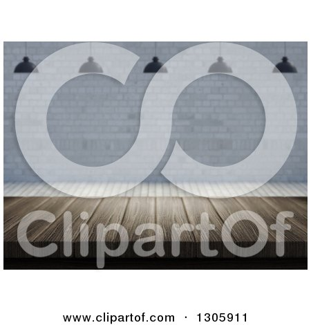 Clipart of a 3d Wooden Table Under Suspended Lights Against a Brick Wall - Royalty Free Illustration by KJ Pargeter