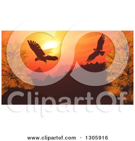Clipart of 3d Eagles Flying over Silhouetted Mountains and Autumn Trees Against an Orange Sunset - Royalty Free Illustration by KJ Pargeter