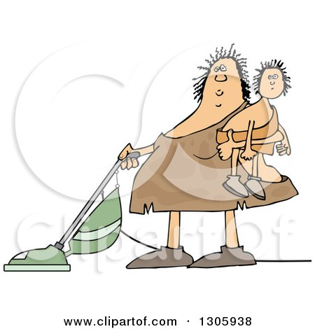 Clipart of a Cartoon Chubby Cavewoman Holding Her Son and Vacuuming - Royalty Free Vector Illustration by djart