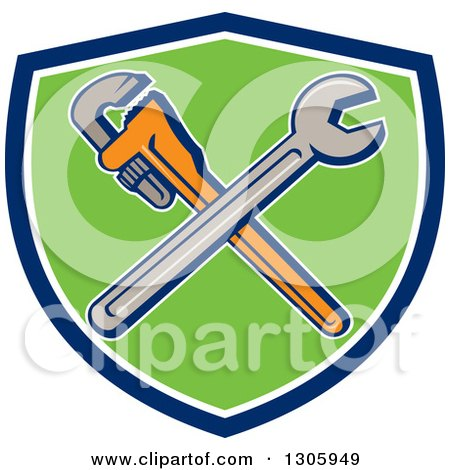 Clipart of Cartoon Crossed Spanner and Monkey Wrenches in a Blue White and Green Shield - Royalty Free Vector Illustration by patrimonio