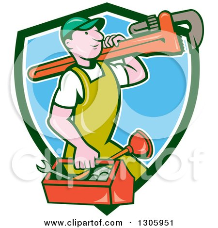 Clipart of a Cartoon White Male Plumber Walking with a Tool Box and Giant Monkey Wrench on His Shoulder and Emerging from a Green White and Blue Shield - Royalty Free Vector Illustration by patrimonio