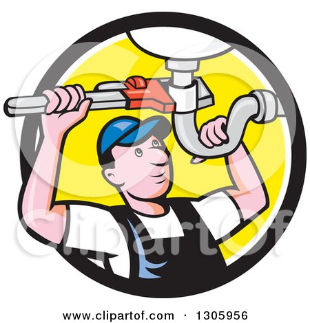 Clipart of a Cartoon White Male Plumber Repairing a Sink Pipe in a Black White and Yellow Circle - Royalty Free Vector Illustration by patrimonio