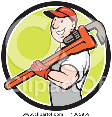 Clipart of a Cartoon Happy White Male Plumber Holding a Giant Monkey Wrench over His Shoulder and Emerging from a Black White and Green Circle - Royalty Free Vector Illustration by patrimonio