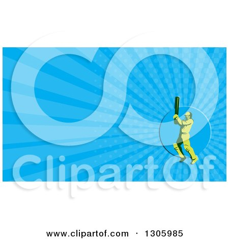 Clipart of a Retro Green Cricket Batsman and Blue Rays Background or Business Card Design - Royalty Free Illustration by patrimonio
