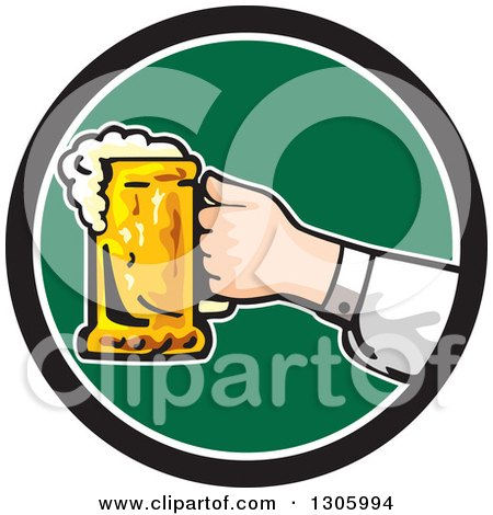 Clipart of a Caucasian Hand Holding out a Frothy Beer Mug in a Black White and Green Circle - Royalty Free Vector Illustration by patrimonio