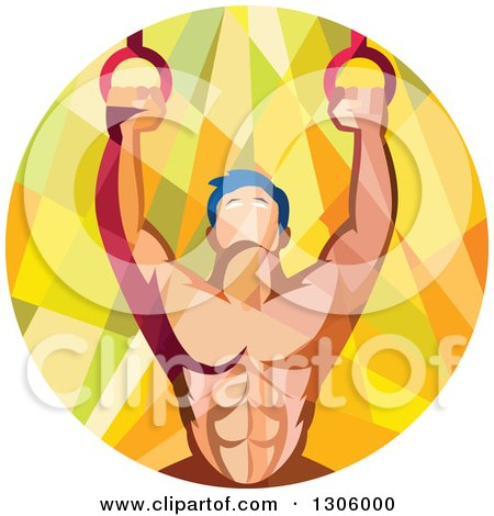 Clipart of a Retro Low Poly Geometric Male Crossfit or Gymnast Athlete Doing Kipping Pull Ups on Still Rings - Royalty Free Vector Illustration by patrimonio