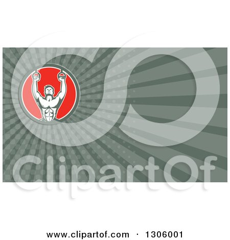 Clipart of a Retro Male Crossfit or Gymnast Athlete Doing on Still Rings and Dark Green Rays Background or Business Card Design - Royalty Free Illustration by patrimonio