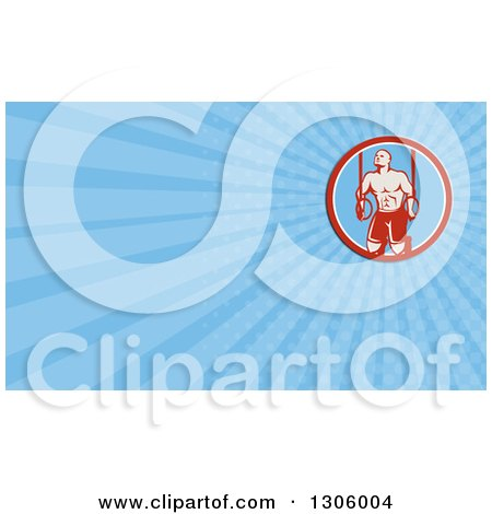 Clipart of a Retro Male Crossfit or Gymnast Athlete Doing Kipping Pull Ups on Still Rings and Blue Rays Background or Business Card Design - Royalty Free Illustration by patrimonio