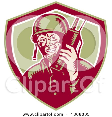 Clipart of a Retro Woodcut World War Two Soldier Talking on a Field Radio in a Green Maroon and White Shield - Royalty Free Vector Illustration by patrimonio