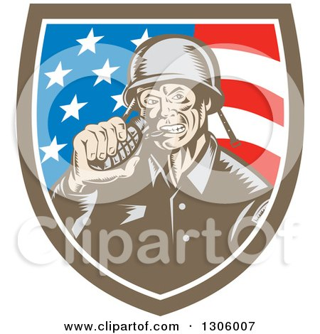 Clipart of a Retro Woodcut World War Two Soldier Biting a Grenade in an American Flag Shield - Royalty Free Vector Illustration by patrimonio