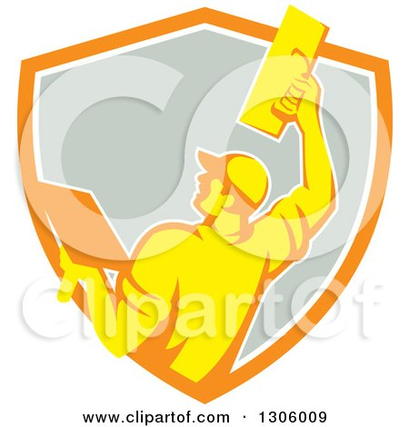 Clipart of a Rear View of a Retro Male Plasterer Working with a Trowel and Emerging from an Orange White and Gray Shield - Royalty Free Vector Illustration by patrimonio
