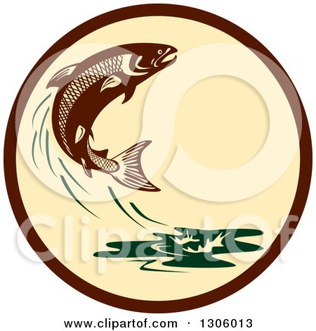 Clipart of a Retro Leaping Atlantic Salmon Fish and Green Water Splash in a Brown and Tan Circle - Royalty Free Vector Illustration by patrimonio