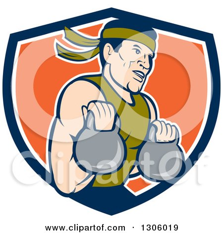 Clipart of a Cartoon Male Asian Crossfit Athlete Working out with Kettlebells in a Blue White and Orange Shield - Royalty Free Vector Illustration by patrimonio