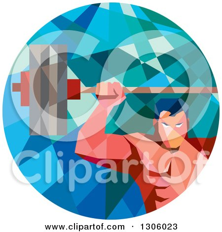 Clipart of a Retro Low Poly Geometric White Bodybuilder Lifting a Barbell over His Head in a Circle - Royalty Free Vector Illustration by patrimonio