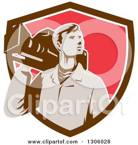 Clipart of a Retro Male Cameraman Looking to the Side and Emerging from a Brown White and Red Shield - Royalty Free Vector Illustration by patrimonio