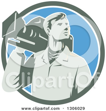 Clipart of a Retro Male Cameraman Looking to the Side and Emerging from a Green White and Blue Circle - Royalty Free Vector Illustration by patrimonio