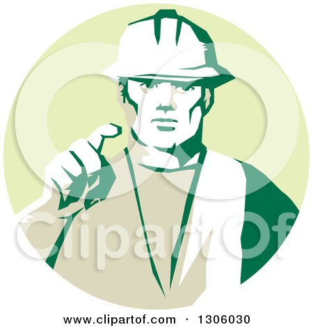 Clipart of a Retro Male Construction Worker Builder Pointing Outwards in a Pastel Green Circle - Royalty Free Vector Illustration by patrimonio