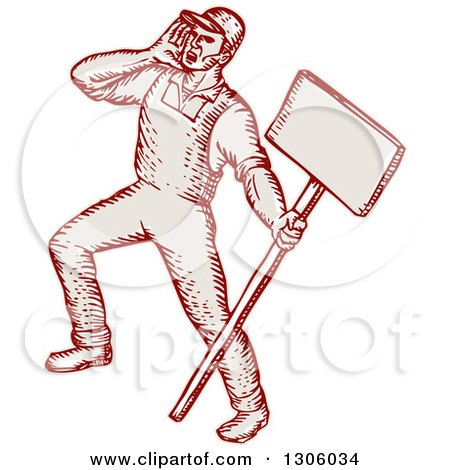Clipart of a Sketched or Engraved Shouting Union Worker Holding a Sign - Royalty Free Vector Illustration by patrimonio