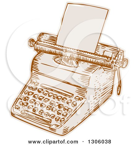 Sketched or Engraved Retro Typewriter with Paper Loaded Posters, Art Prints