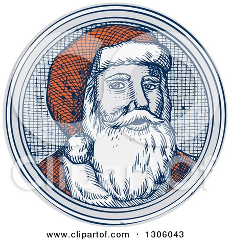 Clipart of an Engraved Christmas Santa Claus Face in a Circle - Royalty Free Vector Illustration by patrimonio
