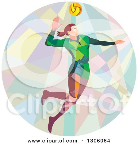 Clipart of a Retro Low Poly Geometric White Female Volleyball Player Spiking in a Circle - Royalty Free Vector Illustration by patrimonio