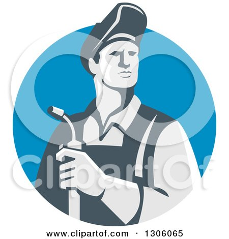 Clipart of a Retro Male Welder Holding a Torch in a Blue Shield - Royalty Free Vector Illustration by patrimonio