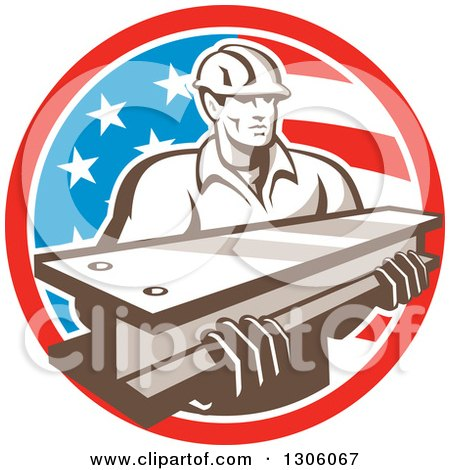 Clipart of a Retro Male Construction Worker Carrying an I Beam and Emerging from an American Flag Circle - Royalty Free Vector Illustration by patrimonio