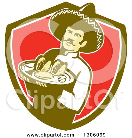 Clipart of a Retro Male Mexican Chef Wearing a Sombrero and Holding a Tray of Tacos, Burritos and Empanadas in a Green White and Red Shield - Royalty Free Vector Illustration by patrimonio