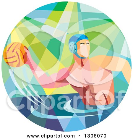 Clipart of a Retro Low Poly Geometric White Man Playing Water Polo in a Circle - Royalty Free Vector Illustration by patrimonio