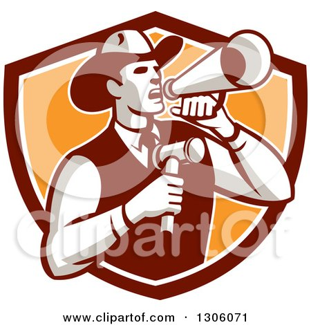 Clipart of a Retro Cowboy Auctioneer Using a Megaphone and Holding a Gavel in a Brown White And Orange Shield - Royalty Free Vector Illustration by patrimonio