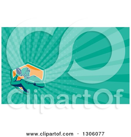 Clipart of a Retro Male American Football Player Passing and Turquoise Rays Background or Business Card Design - Royalty Free Illustration by patrimonio