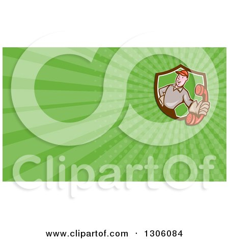 Clipart of a Cartoon White Telephone Repair Man Holding out a Red Receiver and Green Rays Background or Business Card Design - Royalty Free Illustration by patrimonio