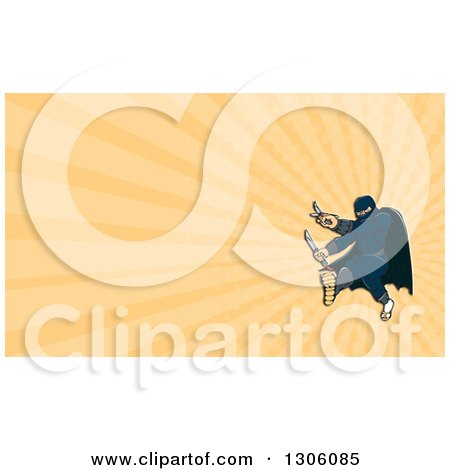 Clipart of a Masked Ninja Warrior Super Hero Fighting, Kicking and Holding a Knife and Sword and Pastel Orange Rays Background or Business Card Design - Royalty Free Illustration by patrimonio
