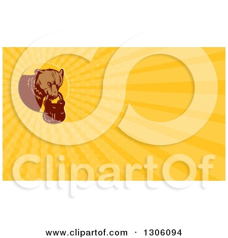Clipart of a Retro Woodcut Grizzly Bear with a Padlock in His Mouth and Yellow Rays Background or Business Card Design - Royalty Free Illustration by patrimonio