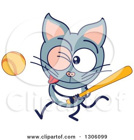 Clipart of a Cartoon Gray Cat Character Swinging a Baseball Bat - Royalty Free Vector Illustration by Zooco