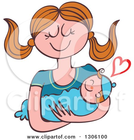 Clipart of a Cartoon Happy Caucasian Mother Lovingly Holding Her Baby Boy, with a Heart - Royalty Free Vector Illustration by Zooco