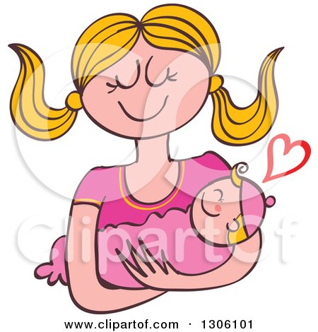 Clipart of a Cartoon Happy Blond Caucasian Mother Lovingly Holding Her Baby Girl, with a Heart - Royalty Free Vector Illustration by Zooco