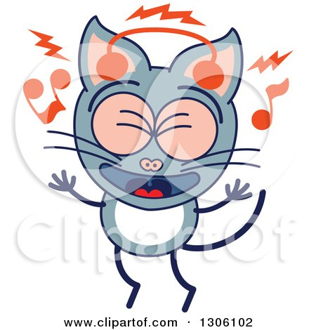 Clipart of a Cartoon Gray Cat Character Singing and Listening to Music with Headphones - Royalty Free Vector Illustration by Zooco