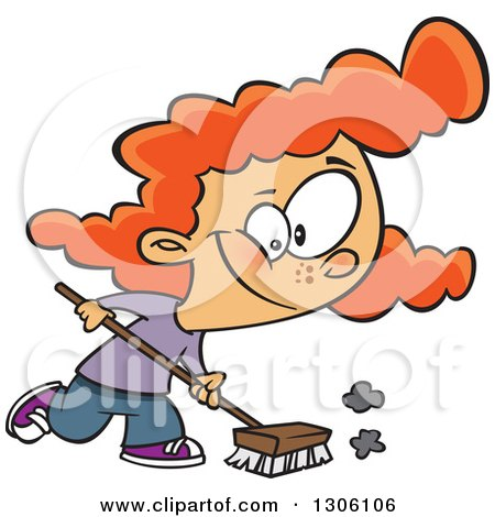 Clipart of a Cartoon Red Haired White Girl Using a Shop Broom - Royalty Free Vector Illustration by toonaday