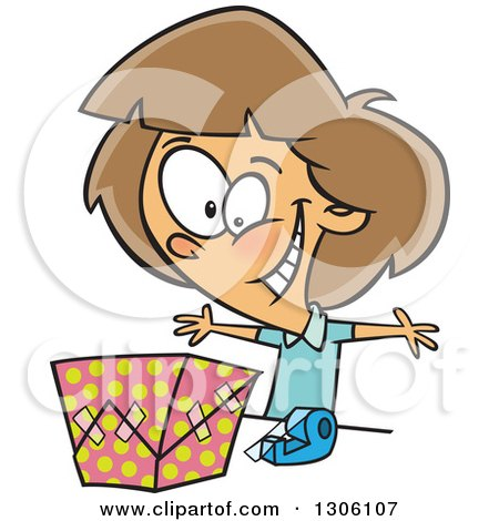 Clipart of a Cartoon Excited Brunette White Girl Wrapping a Gift - Royalty Free Vector Illustration by toonaday