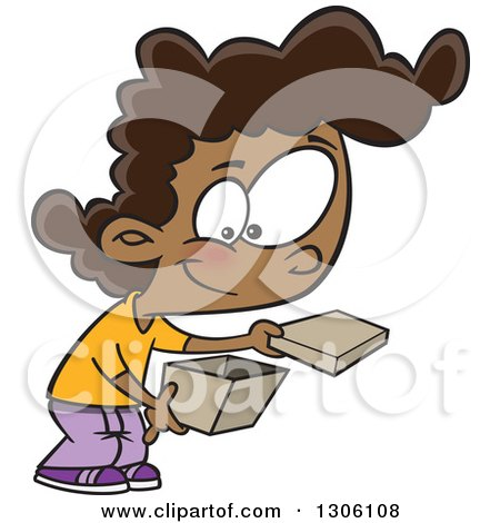 Clipart of a Cartoon Happy Black Girl Opening a Box - Royalty Free Vector Illustration by toonaday