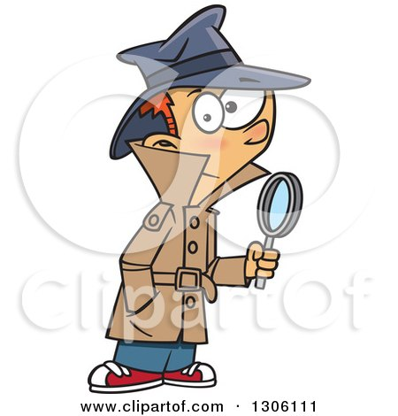 Clipart of a Cartoon Red Haired White Detective Boy Holding a Magnifying Glass - Royalty Free Vector Illustration by toonaday