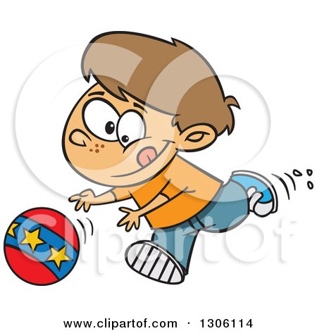 Clipart of a Cartoon Brunette White Boy Playing and Chasing a Ball - Royalty Free Vector Illustration by toonaday
