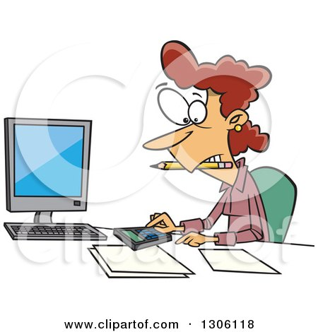 Clipart of a Cartoon White Female Accountant Working Hard at Her Desk - Royalty Free Vector Illustration by toonaday