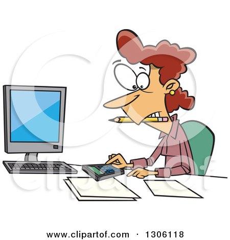 Clipart of a Cartoon White Female Accountant Working Hard ...
