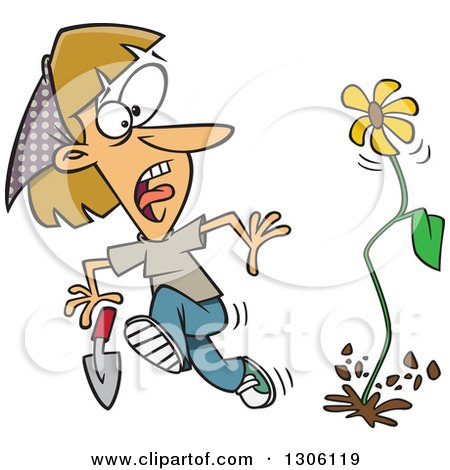 Clipart of a Cartoon Flower Springing up and Scaring a Dirty Blond White Woman in a Garden - Royalty Free Vector Illustration by toonaday