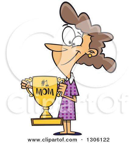 Clipart of a Cartoon Happy Brunette White Mom Holding a Trophy - Royalty Free Vector Illustration by toonaday