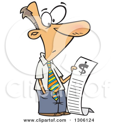 Clipart of a Cartoon Shocked White Businessman Reading a Long Bill - Royalty Free Vector Illustration by toonaday
