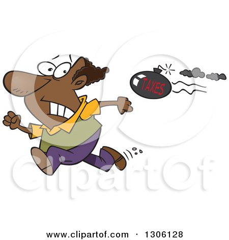 Clipart of a Cartoon Tax Evasion Bomb Flying Behind a Running Black Man - Royalty Free Vector Illustration by toonaday
